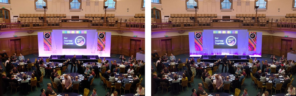 Left: the original X100S in-camera JPG; Right: the original X100S RAW as seen by Lightroom. Note the purples!