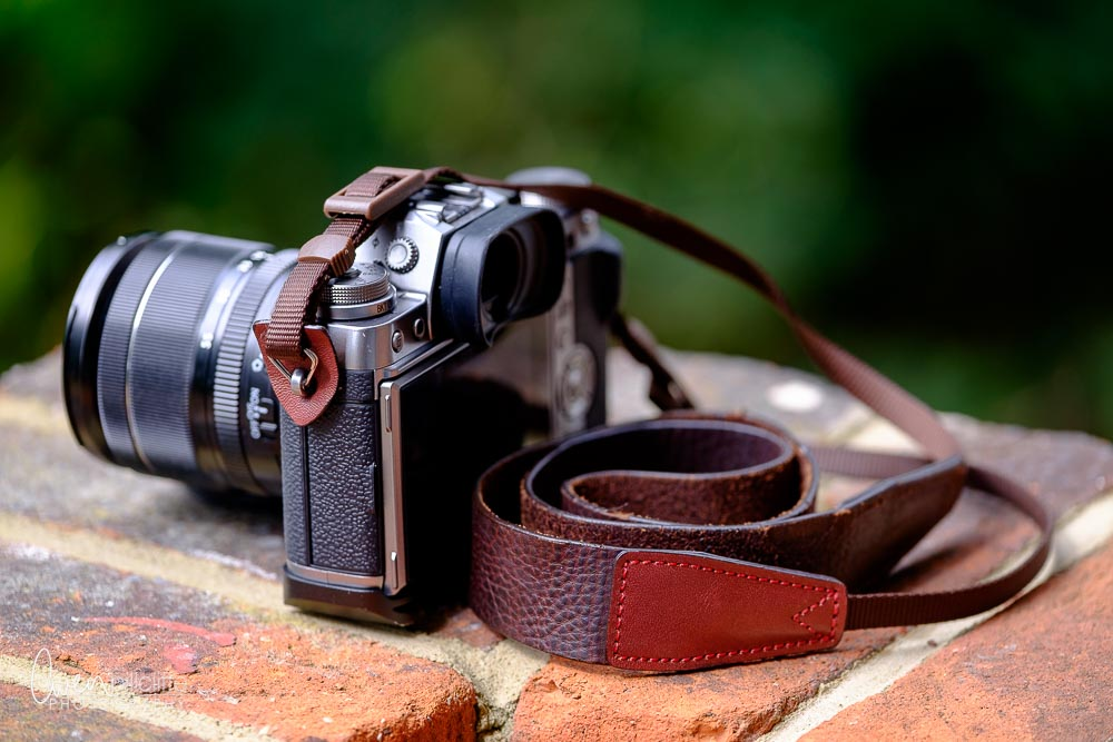 The Cam-In leather strap attached to my Graphite Fujifilm X-T1