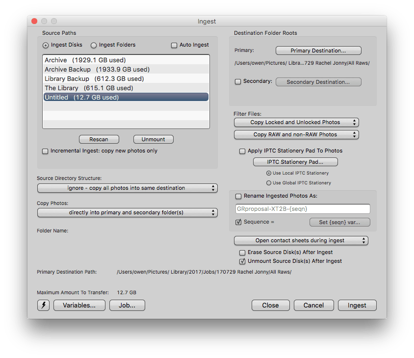Photo Mechanic Lightroom import workflow ingest screen - For Photographers: my Photo Mechanic to Lightroom import workflow