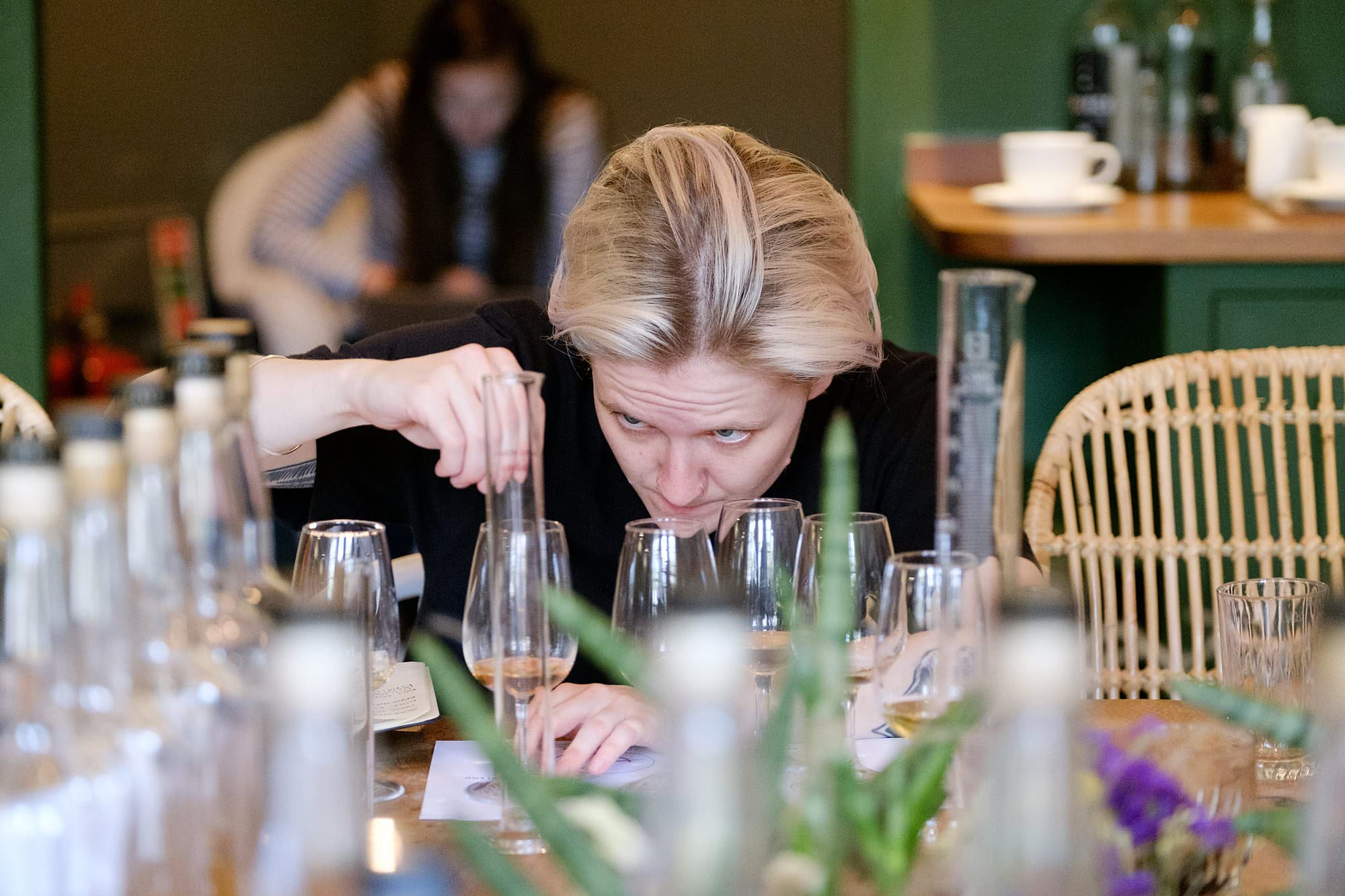 Rosey Mitchell preparing her winning whisky blend