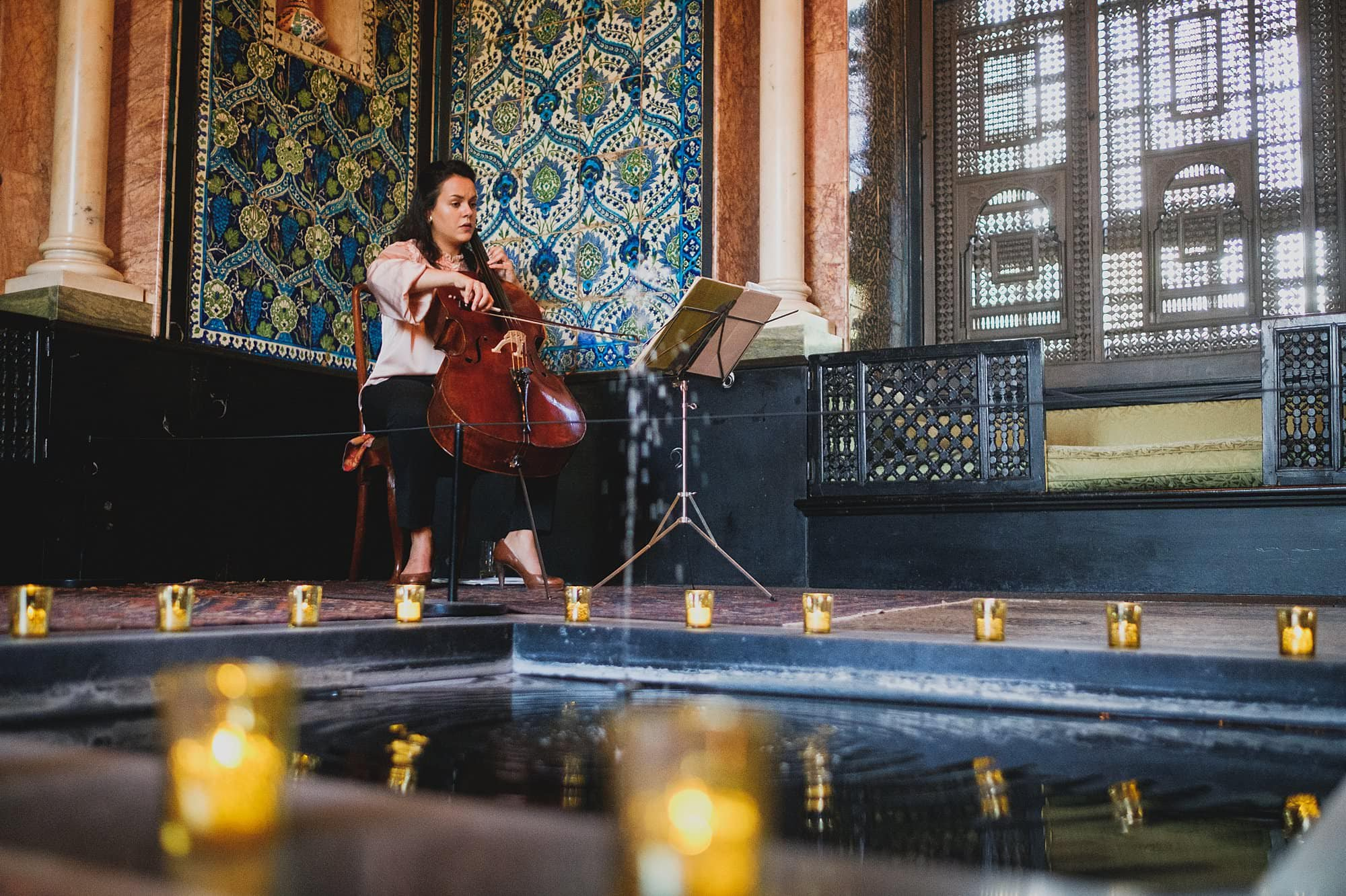 a cellist at a leighton house museum event