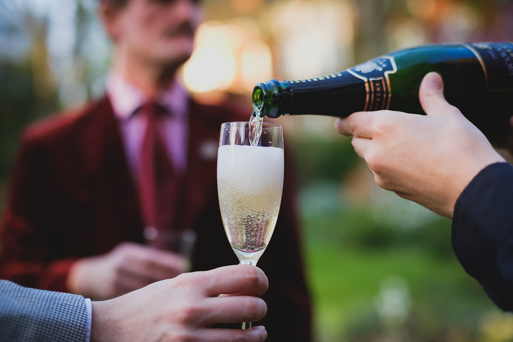 champagne for guests at a leighton house museum event