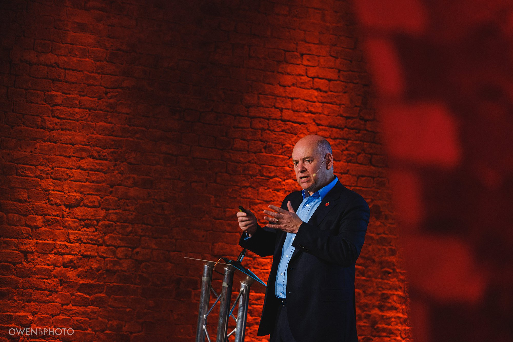 lord jonathan evans speaks at a corporate conference at the steelyard in london